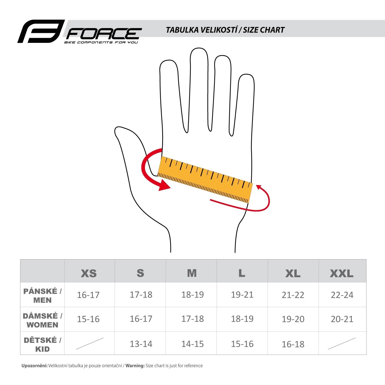 rukavice force velikosti
